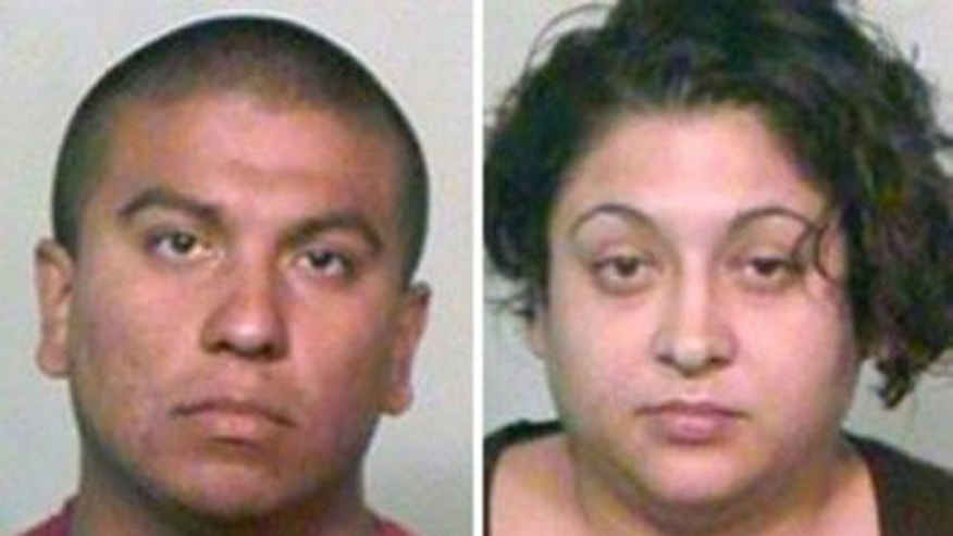 Gabriel Solis, 29, and his wife Elsa Solis, 30, are suspected of abusing a year-old boy left in their care by a soldier fighting in Afghanistan.