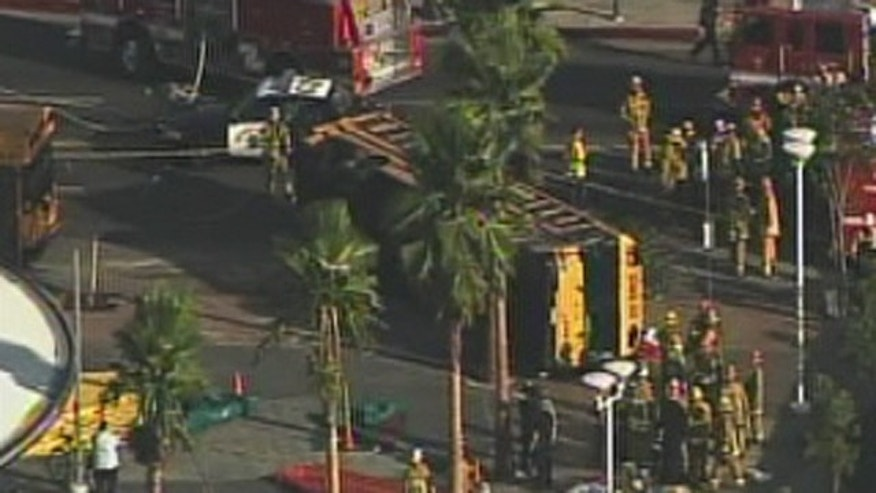Oct. 25: One person was killed and at least 19 people were injured when a black BMW ran a red light and broadsided a school bus in Los Angeles.