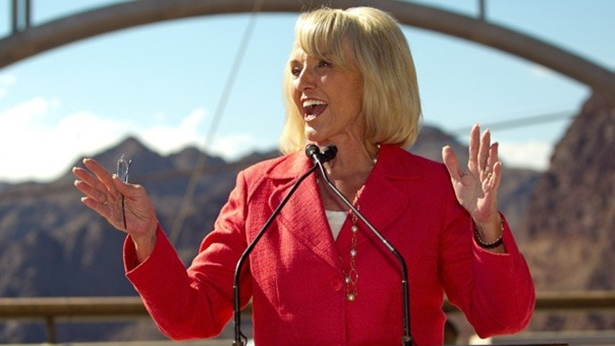 Oct. 14: Arizona Gov. Jan Brewer gives a speech on the observation deck on the Hoover Dam.