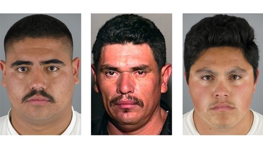 This photo combo shows, from left, Isai Aguilar Morales, 22, Crisantos Moroyoqui, 36, and Jose David Castro Reyes, 25. The three men are suspected in connection of the stabbing and beheading of Martin Alejandro Cota-Monroy, 38 at a suburban Phoenix apartment.