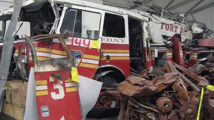 Recovered steel from the site that once rose into the Manhattan skyline as part of the Twin Towers is stored in this building, as are FDNY fire trucks destroyed on that horrifying day.
