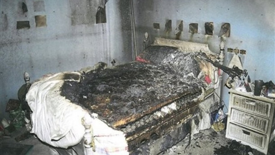 This July 2007 police photo released Tuesday, Sept. 16, 2010 by the Connecticut Judicial Branch as evidence in the Steven Hayes trial shows the charred bedroom of Hayley Petit (AP).