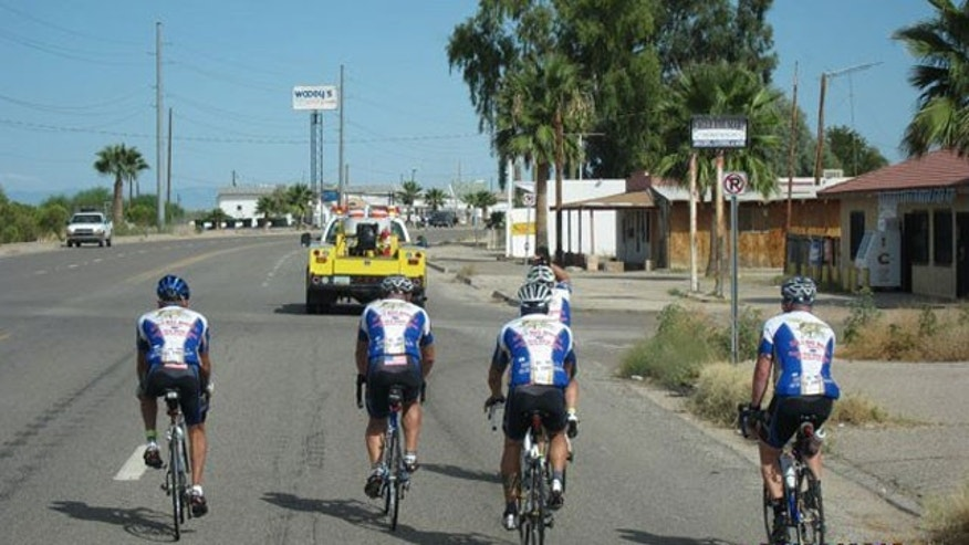 The SEALs Bike America Team on the road.
