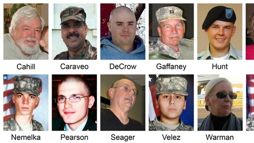 In this composite, victims killed during a shooting at Fort Hood, Texas on Nov. 5, 2009 are shown. From top left, Michael Grant Cahill, 62, of Cameron, Texas; Maj. Libardo Eduardo Caraveo, 52, of Woodbridge, Va.; Staff Sgt. Justin M. DeCrow, 32, of Evans, Ga.; Capt. John Gaffaney, 56, of San Diego, Calif.; Spc. Jason Dean Hunt, 22, of Frederick, Okla., Sgt. Amy Krueger, 29, of Kiel, Wis.; Pfc. Aaron Thomas Nemelka, 19, of West Jordan, Utah; Pfc. Michael Pearson, 22, of Bolingbrook, Ill.; Capt. Russell Seager, 51, of Racine, Wis.; Pvt. Francheska Velez, 21, of Chicago; Lt. Col. Juanita Warman, 55, of Havre de Grace, Md.; and Pfc. Kham Xiong, 23, of St. Paul, Minn. (AP)