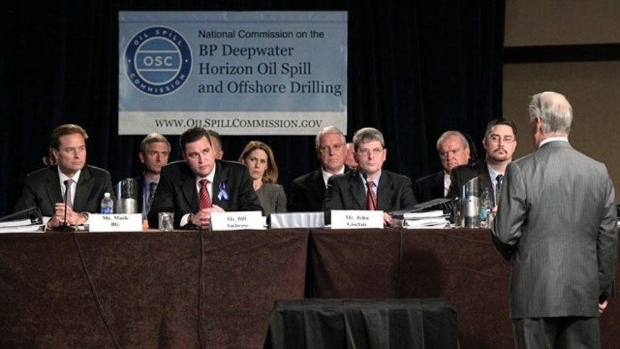 Nov. 8: A panel with representatives from BP, Transocean and Halliburton, give their views before the National Commission on the BP Deepwater Horizon Oil Spill and Offshore Drilling, and the commission's Chief Counsel Fred Bartlit, right, during the panel's public hearing in Washington, D.C.