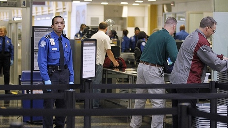 Nov. 15: TSA Transportation Security Officers, in blue uniforms, monitor airline passenger as they check-in at Washington's Ronald Reagan National Airport.