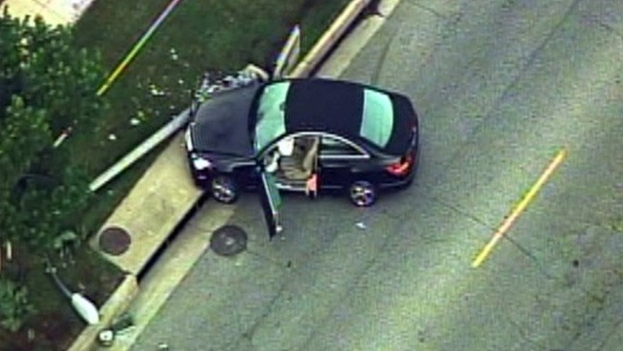 Nov. 16: An aerial view of the crash scene at Sunset Boulevard and Whittier Drive in Beverly Hills (MyFoxLA.com)
