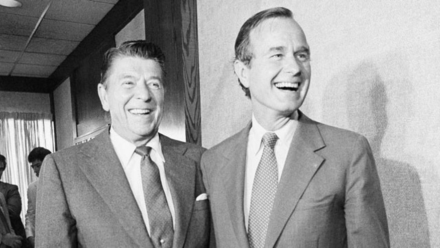 July 24, 1980: California Gov. Ronald Reagan, the Republican Party's nominee for president, and his vice-presidential nominee George H.W. Bush paused for photos before a meeting. California counted more registered Republicans in 1988 than it does today, even though the state population has since grown by about 10 million.