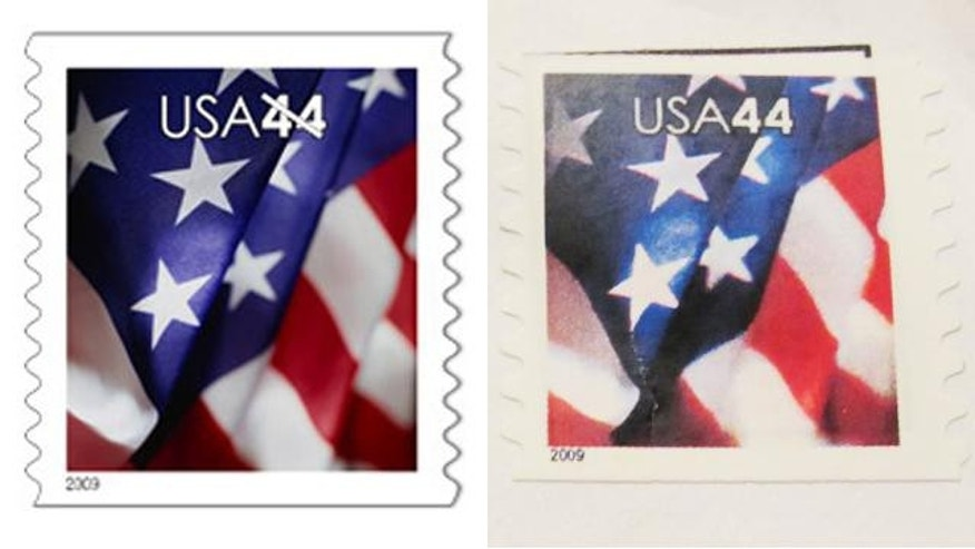 The stamp on the left is an authentic U.S. stamp; the one on the right is a fake. The fake one features a brighter blue color; the blue color on the real stamp is actually darker in hue and more purple