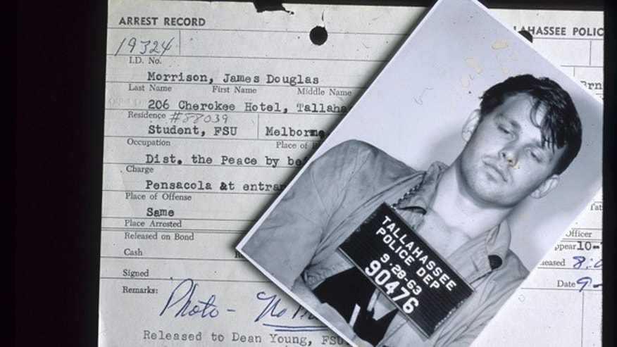 This Sept. 28, 1963 photo released by the Florida Dept of State archives, shows the arrest mug and record of singer Jim Morrison.