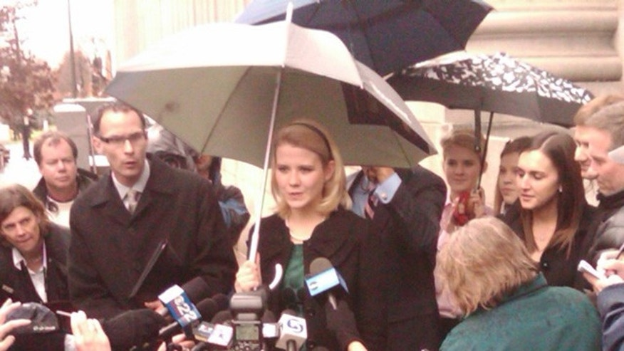 Dec. 10: Elizabeth Smart speaks to the press outside a federal court in Salt Lake City. In 2002 Smart was kidnapped by Brian David Mitchell. On Dec. 10, Mitchell was convicted for kidnapping and transporting a minor across state lines. (Fox News)