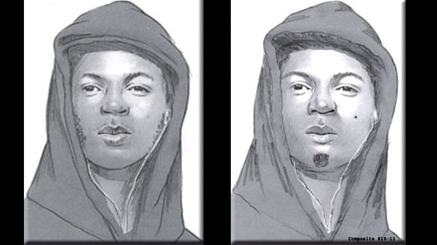 Two sketches released by Philadelphia police after three stranglings in the city's Kensington neighborhood.