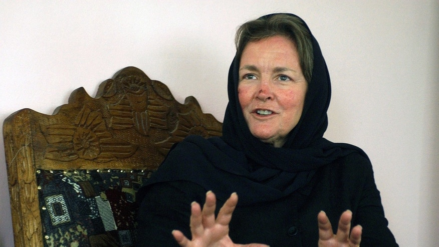 April 20, 2005: Sally Goodrich, whose son died in the Sept. 11 attacks, speaks in Kabul, Afghanistan. Goodrich, a Vermont woman who against advice helped start a school for girls in Afghanistan in memory of the son she lost on Sept. 11, has died. She was 65.