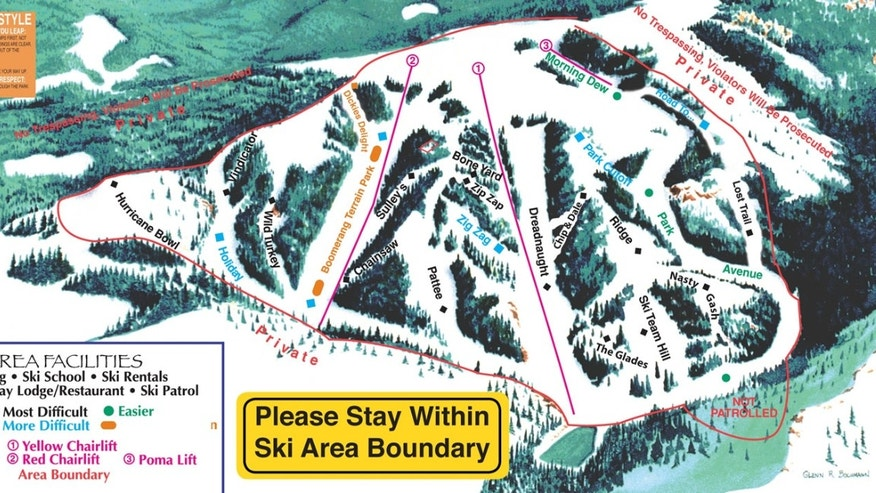 Trail map of Hogadon Ski Area in Casper, Wyo.