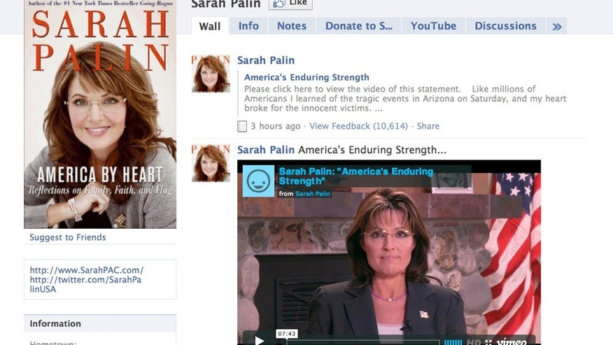 Jan. 12: This image, taken from Facebook.com, shows the Facebook page of Sarah Palin. A nearly eight-minute video was posted on her page accusing journalists and pundits of inciting hatred and violence in the wake of a deadly Arizona shooting that gravely wounded a U.S. congresswoman.