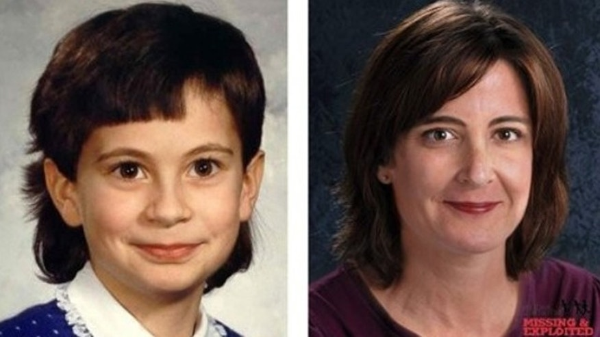 These images provided by The National Center for Missing and Exploited Children show at left, a photograph from 1985 of 8-year-old Cherrie Mahan and, at right, a computer art depiction of an age progression image of how Cherrie Mahan may look today, at 33 years of age (AP).