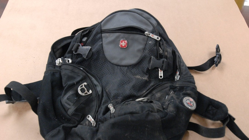 This undated photo provided by the FBI shows the backpack found along the route of a Martin Luther King Jr. Day parade Jan. 17 in Spokane, Wash. The bag contained a sophisticated explosive that had a remote detonator.