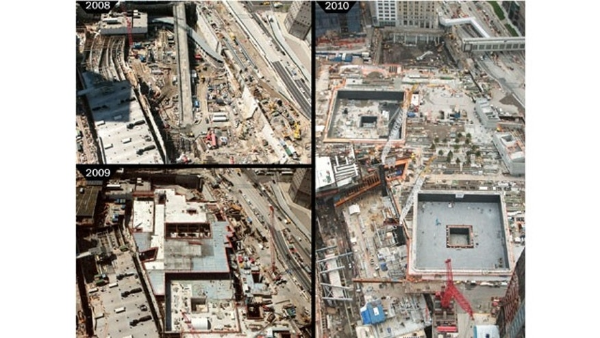 Photo from Silverstein Properties of progress made at World Trade Center 2008-2010.