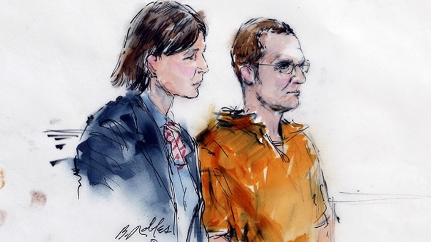 Jan. 24: In this artist rendering, Jared Lee Loughner, right, makes a court appearance with his lawyer, Judy Clarke, at the Sandra Day O'Connor United States Courthouse in Phoenix, Ariz.