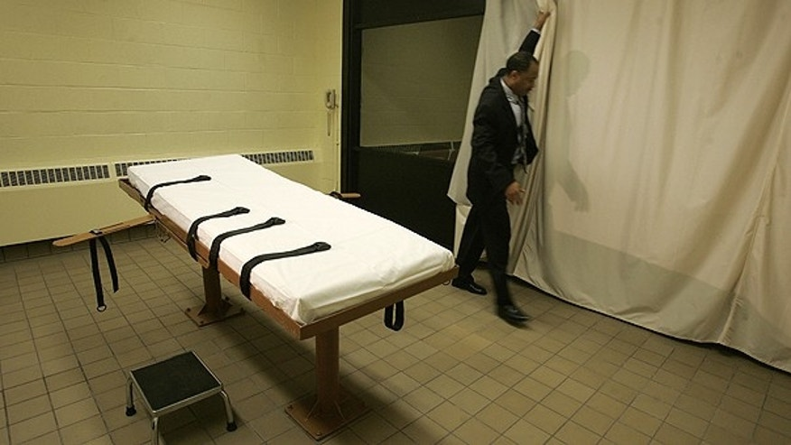 This November 2005 file photo shows the death chamber at the Southern Ohio Corrections Facility in Lucasville, Ohio.