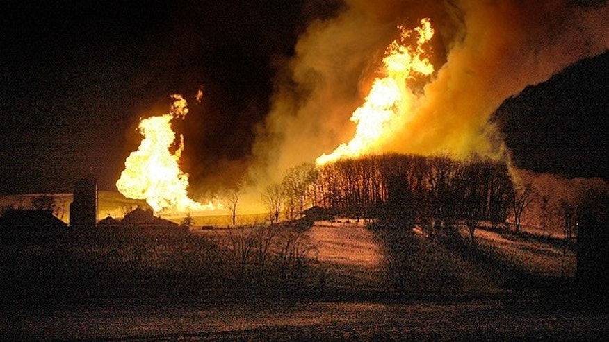 Feb. 10: Flames leap into the air at Hanover Farms in Hanoverton, Ohio.
