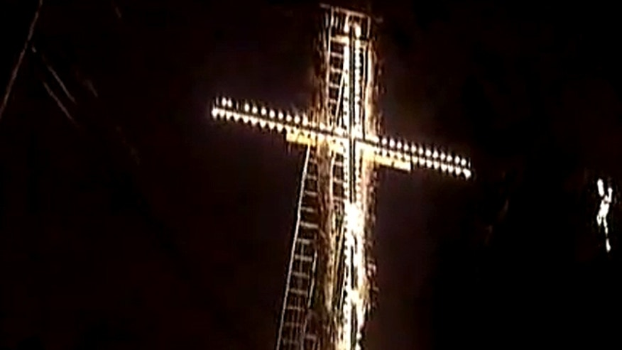 Carl Behr, 45, of Baldwin, Pa., received a notice on Monday ordering him to remove the cross, shown above, within five days or face a penalty. But Behr told FoxNews.com he plans to fight the order during a Baldwin Borough meeting late Tuesday. (WTAE.com)
