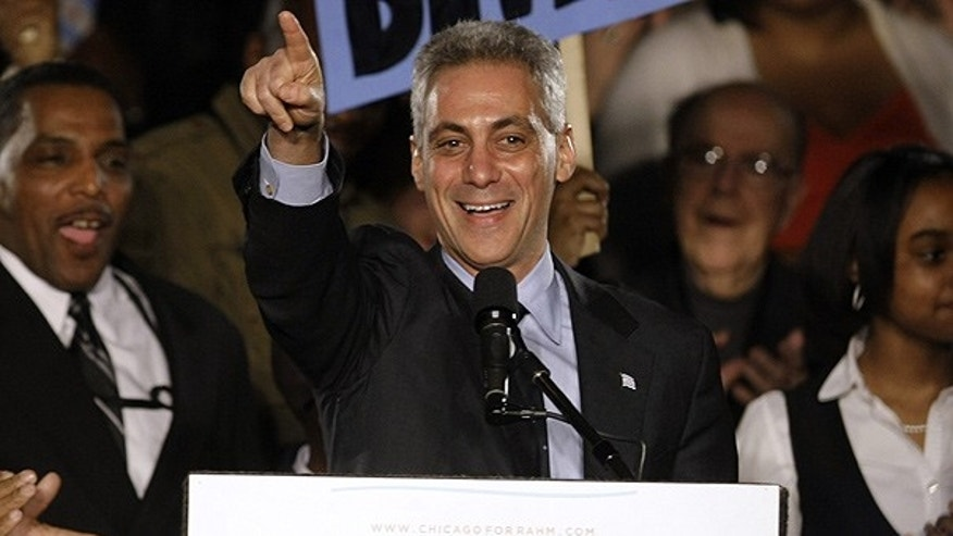 Feb. 22: Former White House Chief of Staff Rahm Emanuel speaks at his election night party in Chicago.