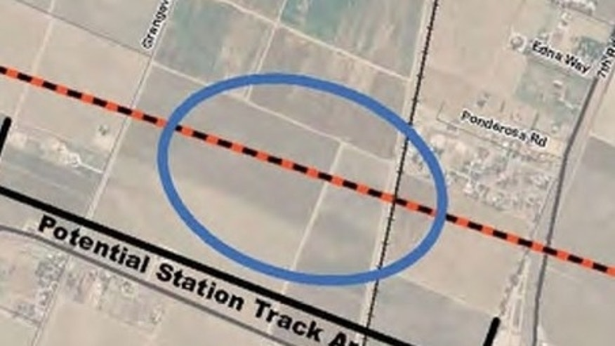 A California man says he was alerted to potential plans to build a contentious high-speed train through his property only after obtaining an internal map showing rail lines through his land.