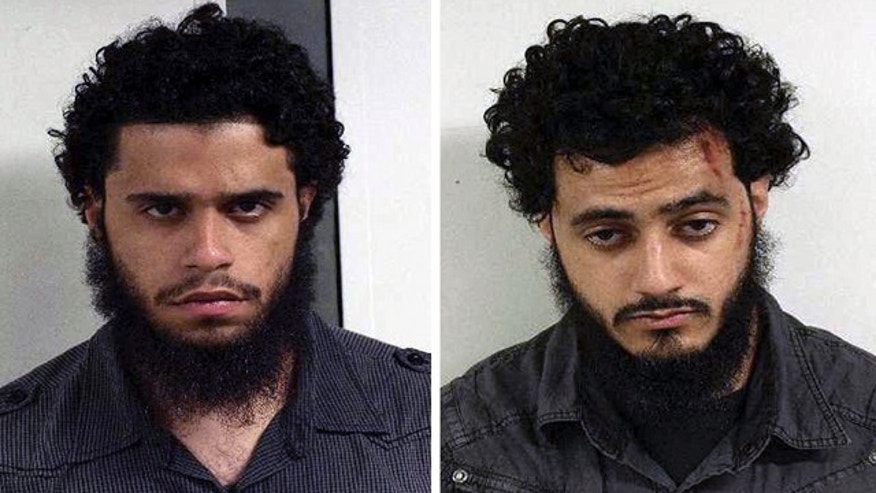 This undated combination file photo provided by the U.S. Marshals on June 9, 2010, shows Carlos Eduardo Almonte, left, and Mohamed Mahmood Alessa, right, who were arrested at New York's Kennedy Airport on June 5, 2010.