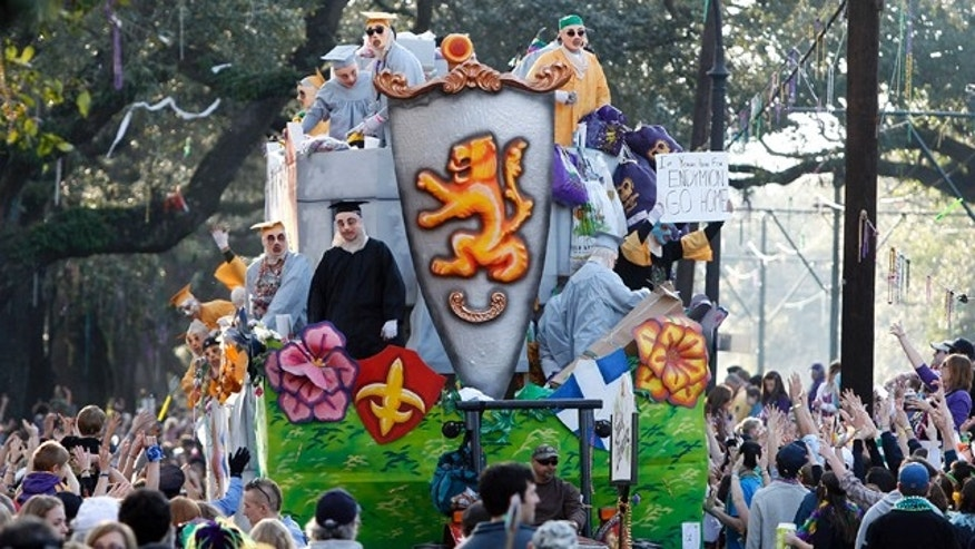 A float in the Krewe of Thoth Mardi Gras parade rolls down St. Charles Avenue in New Orleans, Sunday, March 6, 2011