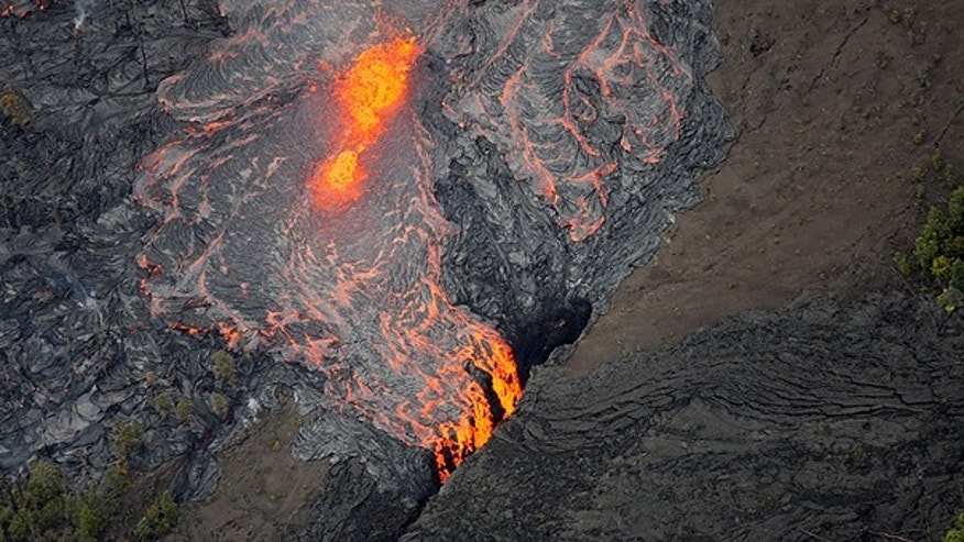 March 6: Lava flows on the Pu'u O'o crater on Kilauea Volcano in Hawaii.