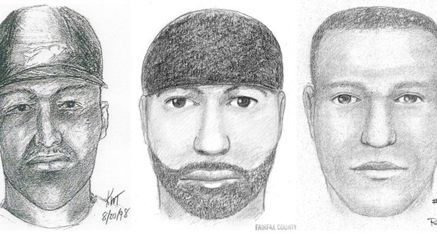This composite of artists' sketches provided by the Fairfax, Va., County Police Department shows the likeness of a suspect wanted for 12 sexual assaults or attempted sexual assaults between 1997 and 2009 in Maryland, Virginia, Connecticut, and Rhode Island. The sketches were made in 1998, left, in 1999, center, and in 2000, right (AP).