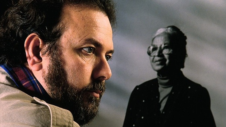 Pulitzer prize winning photographer Brian Lanker, photographed at his studio in Eugene, Oregon, in 1989 with his portrait of Rosa Parks.