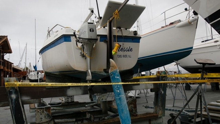 The sailboat that capsized Sunday in San Diego Bay, is seen Monday, March 28, 2011.