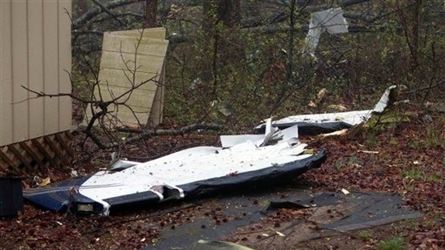 March 30: Wreckage from a plane crash near the intersection of Sandy Ridge Road and Dairy Point Drive in North Carolina.
