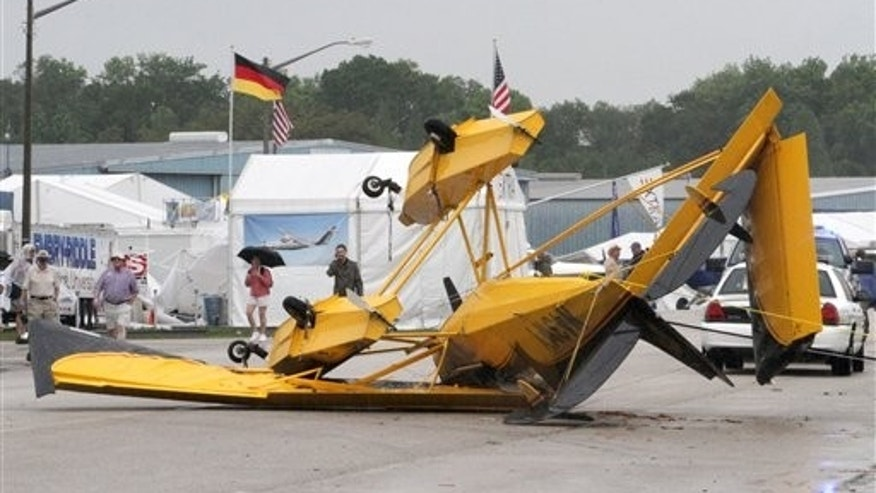 March 31: A sea plane is overturned after a severe thunderstorm plowed through the Sun 'n Fun International Fly-In & Expo at the Lakeland Linder Regional Airport in Lakeland, Florida.