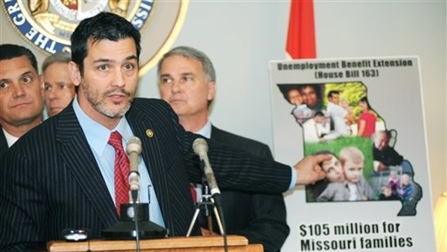 April 6: Sen. Brian Nieves speaks about unemployment benefits during a press conference in Jefferson City, Mo.
