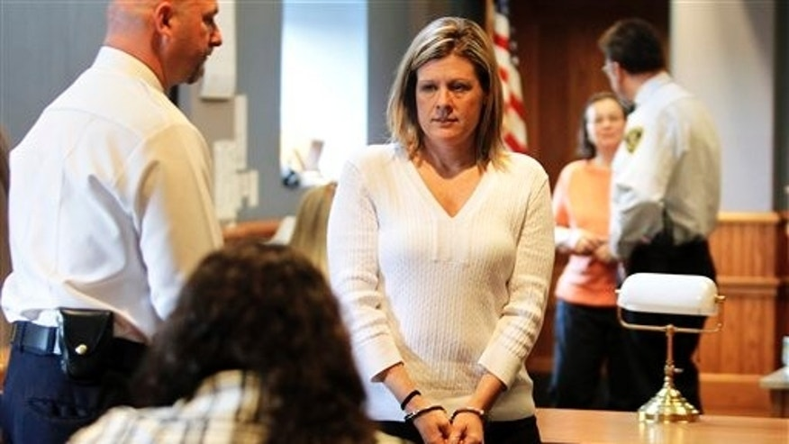 April 12: Kristen LaBrie looks at family and friends after she was found guilty on all four counts, including attempted murder, in the death of her son, at Lawrence Superior Court in Lawrence, Massachusetts.