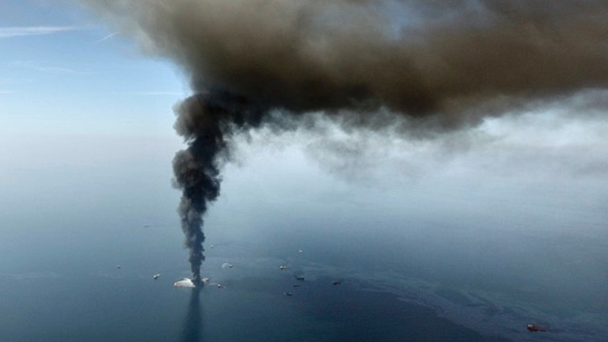 April 21, 2010: Deepwater Horizon oil rig burns in the Gulf of Mexico. In the year since the Gulf oil spill, officials along the coast have gone on a spending spree with BP money, dropping tens of millions of dollars on gadgets, vehicles and gear _ much of which had little to do with the cleanup, an Associated Press investigation shows.