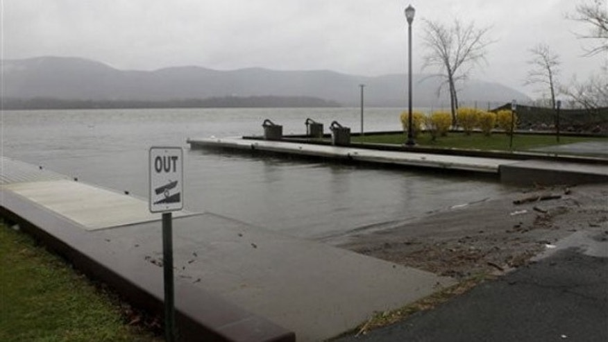 April 13: The Newburgh boat ramp where 25-year-old Lashanda Armstrong drove her minivan into the Hudson River, killing herself and three of her children. Her 10-year-old son managed to escape the submerged vehicle (AP).