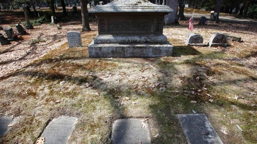 March 25, 2011:  The untended gravesite of Union Civil War Major Gen. George H. Gordon is seen in Framingham, Mass.