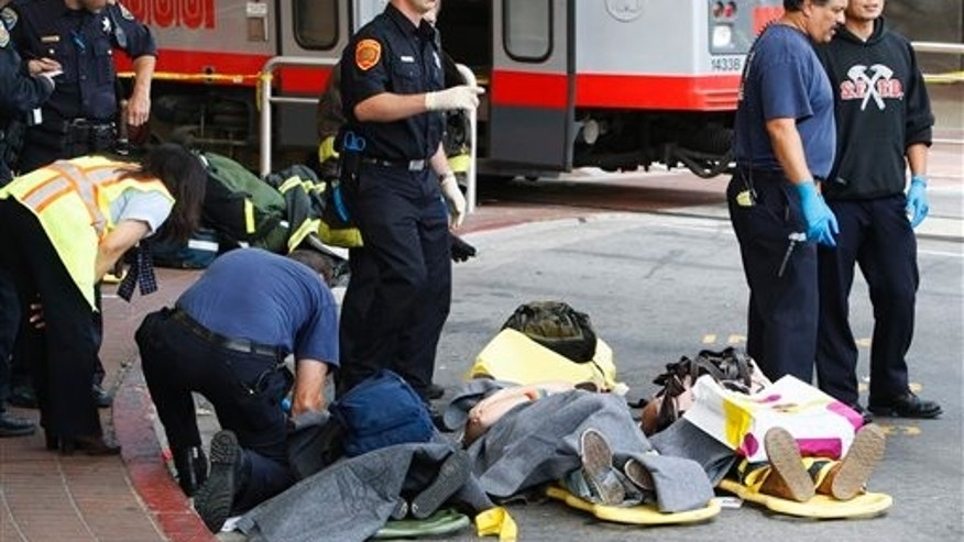 July 2009: Victims involved in a two train Muni crash at the West Portal Station are attended to by rescue workers in San Francisco.