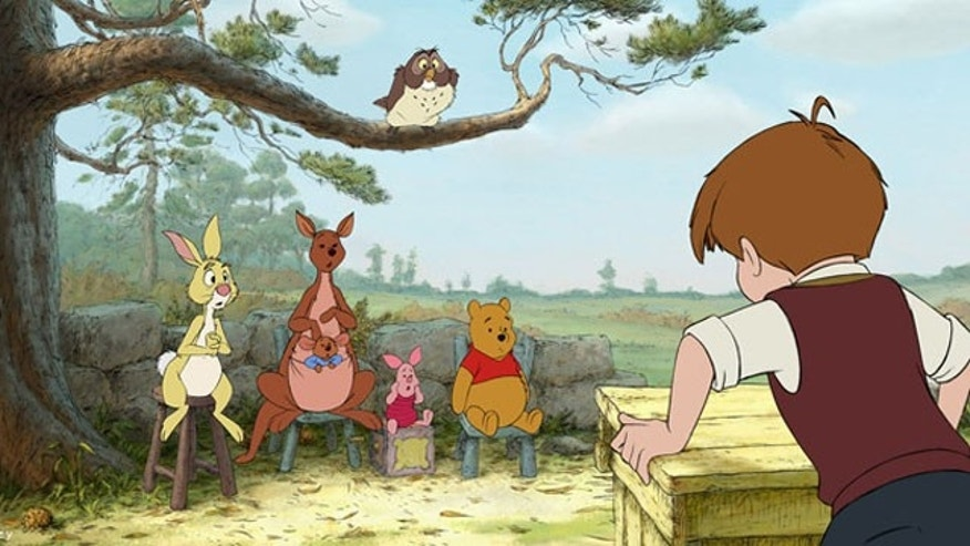 "In a scene from ""Winnie the Pooh,"" characters from left, Rabbit, Kanga, Roo, Piglet, Owl, Winnie the Pooh and Christopher Robin."