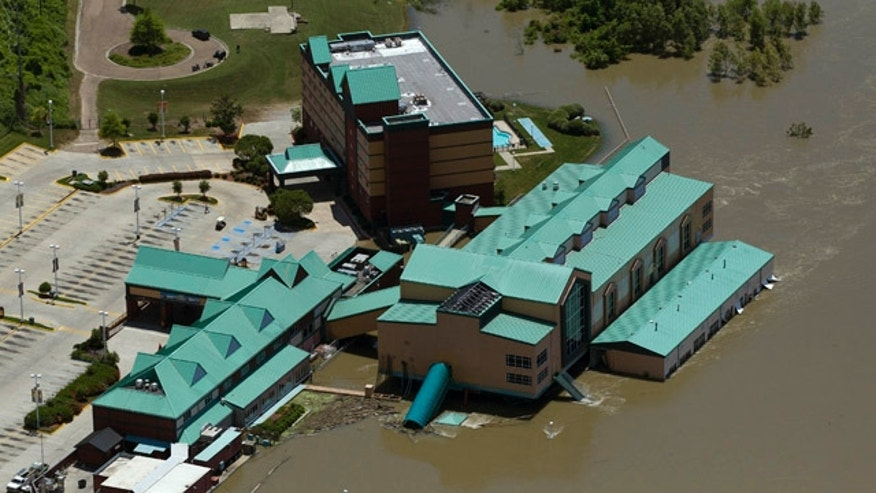 May 17: Floodwaters from the Mississippi River swirl around Diamond Jacks Casino in Vicksburg, Miss.