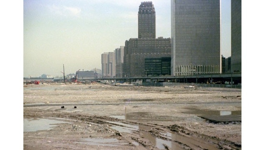 Battery Park Landfill, with Twin Towers in Background, 1975.