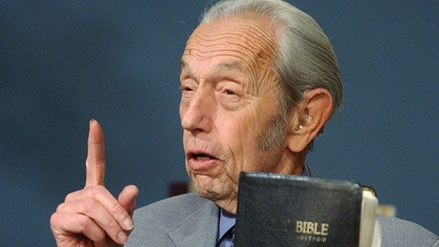 Dec. 12, 2002: Harold Camping speaks while holding the Bible, in San Leandro, Calif. A loosely organized Christian movement has spread the word around the globe that Jesus Christ will return to earth on Saturday, May 21, 2011, to gather the faithful into heaven. While the Christian mainstream isn't buying it, many other skeptics are believing it. The prediction originates with Camping, the 89-year-old retired civil engineer, who founded Family Radio Worldwide, an independent ministry that has broadcasted his prediction around the world.