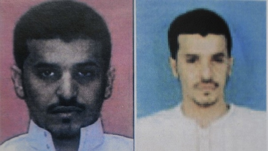 This undated image released Sunday Oct. 31, 2010, by Yemen's Interior Ministry, in a combination of two photos which they say both show bomb maker suspect Ibrahim Hassan al-Asiri.
