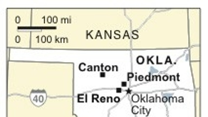 Map locates Canton, Piedmont and El Reno, Oklahoma, near where tornadoes touched down. (AP)