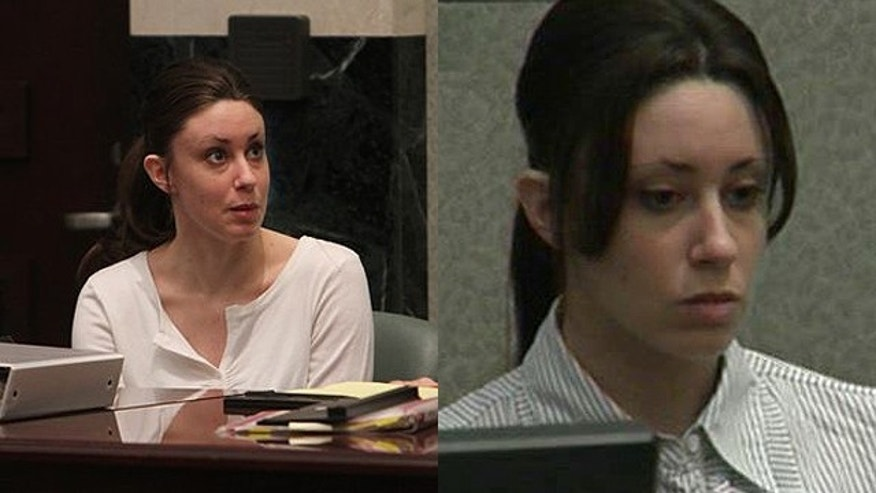 Casey Anthony, a Florida mother charged with murdering her 2-year-old daughter Caylee, is seen here in a composite photo. Anthony is seen in court on Monday, left, and for a second day on Tuesday, right. (AP/FNC)