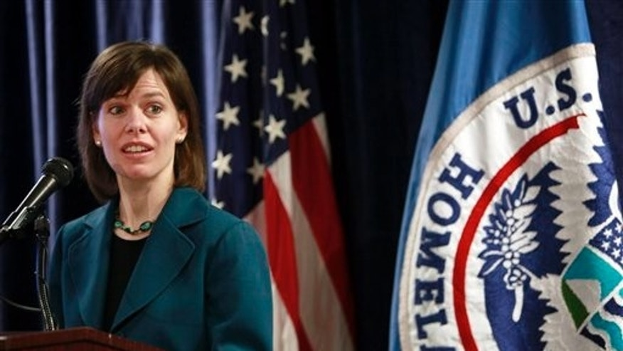 May 25: Lauren Kielsmeier Chief of Staff to the Director of U.S. Citizenship and Immigration Services speaks during a news conference in Los Angeles.